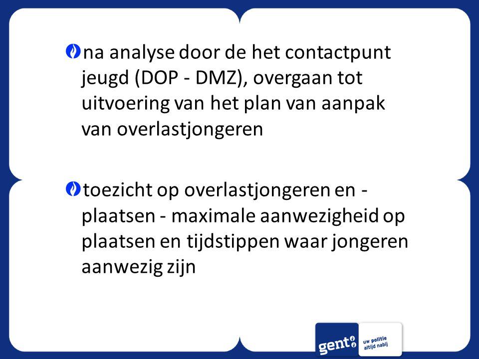 na analyse door de het contactpunt jeugd (DOP - DMZ), overgaan tot uitvoering van het plan van aanpak van overlastjongeren