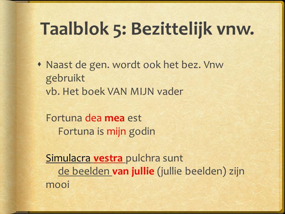 Taalblok 5: Bezittelijk vnw.