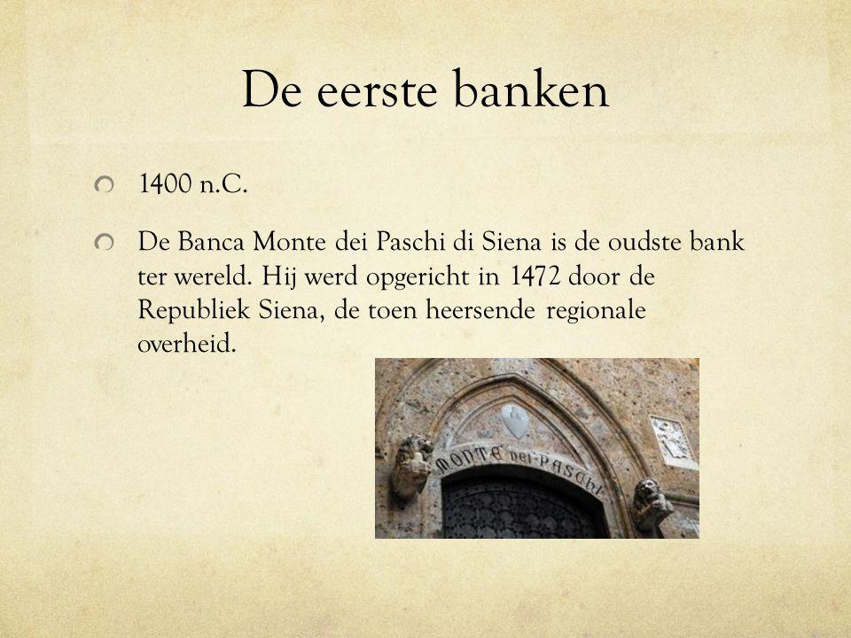 De eerste banken 1400 n.C.