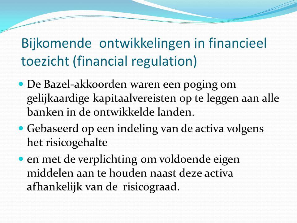 Bijkomende ontwikkelingen in financieel toezicht (financial regulation)