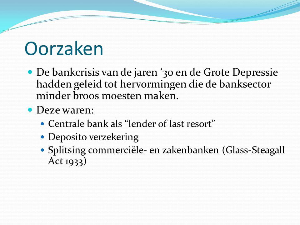 Oorzaken De bankcrisis van de jaren '30 en de Grote Depressie hadden geleid tot hervormingen die de banksector minder broos moesten maken.