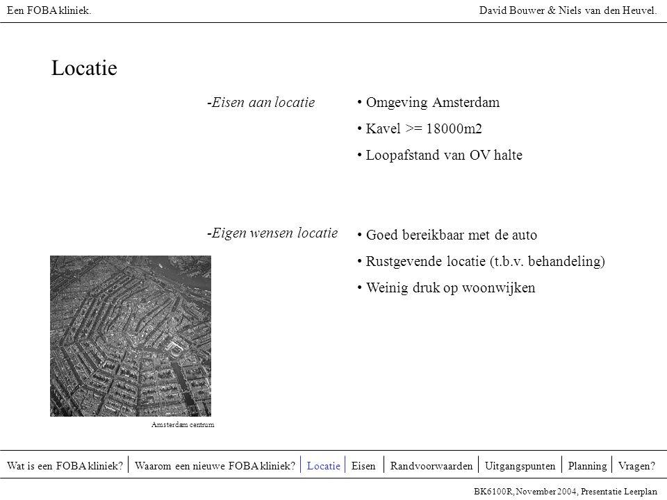 Locatie -Eisen aan locatie Omgeving Amsterdam Kavel >= 18000m2