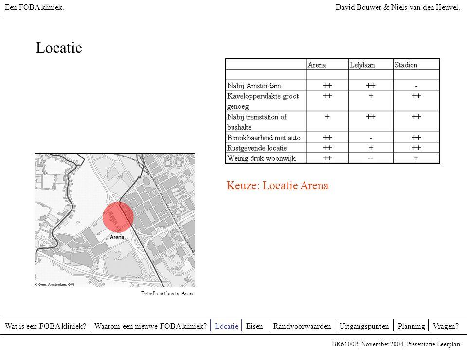 Locatie Keuze: Locatie Arena Een FOBA kliniek.