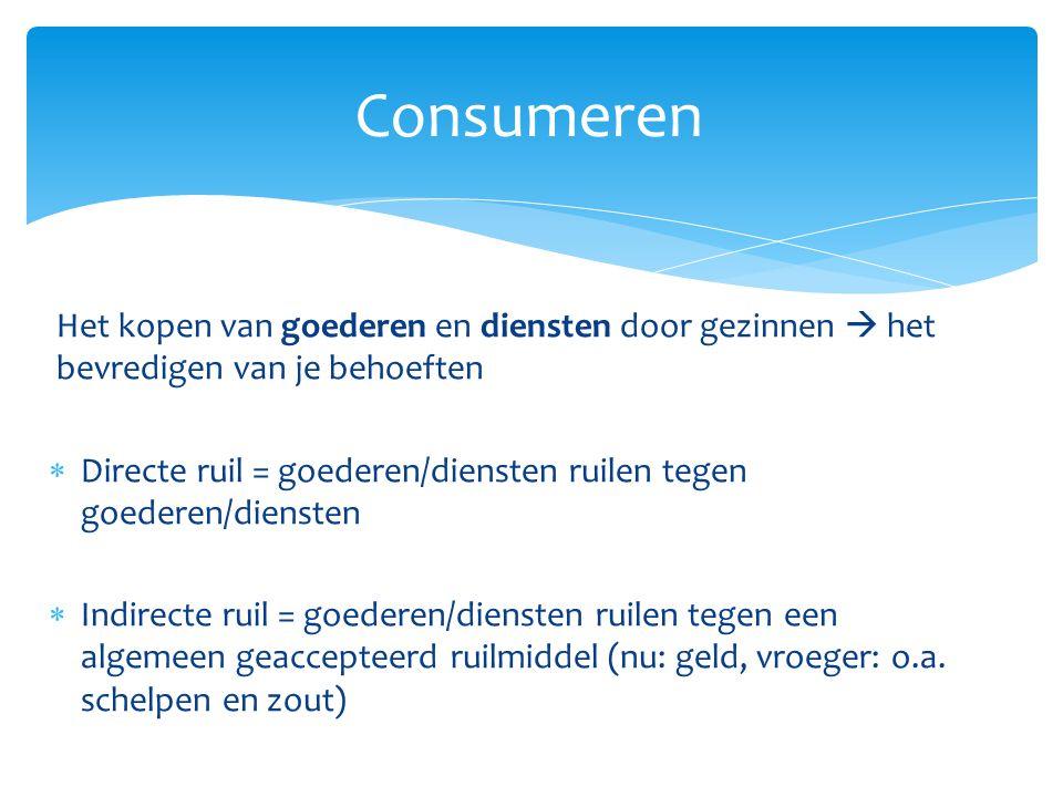 Consumeren Het kopen van goederen en diensten door gezinnen  het bevredigen van je behoeften.