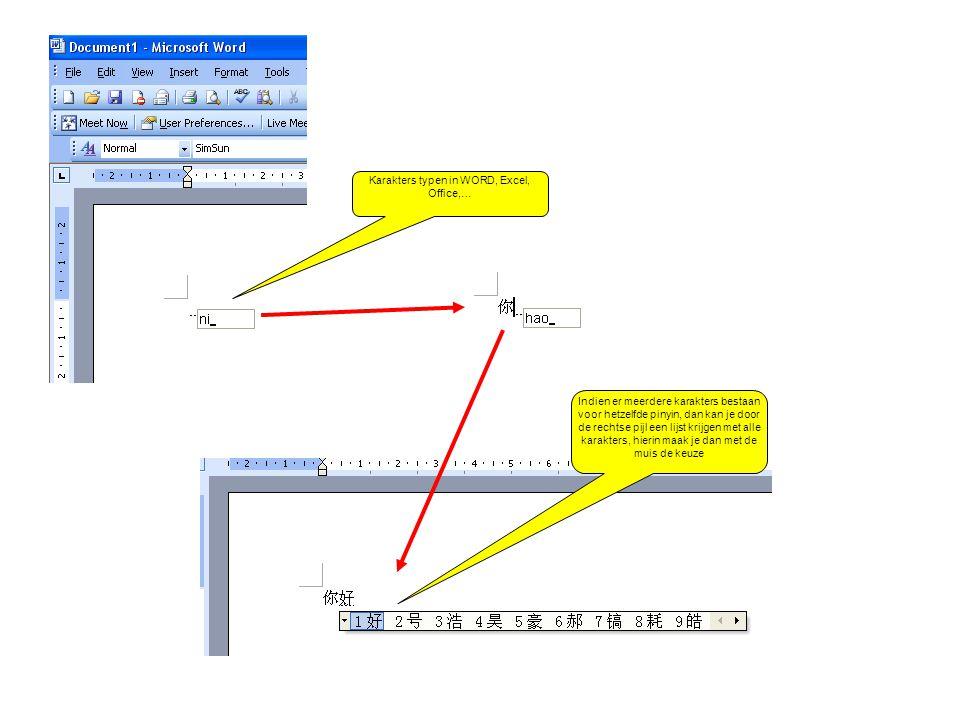 Karakters typen in WORD, Excel, Office,…