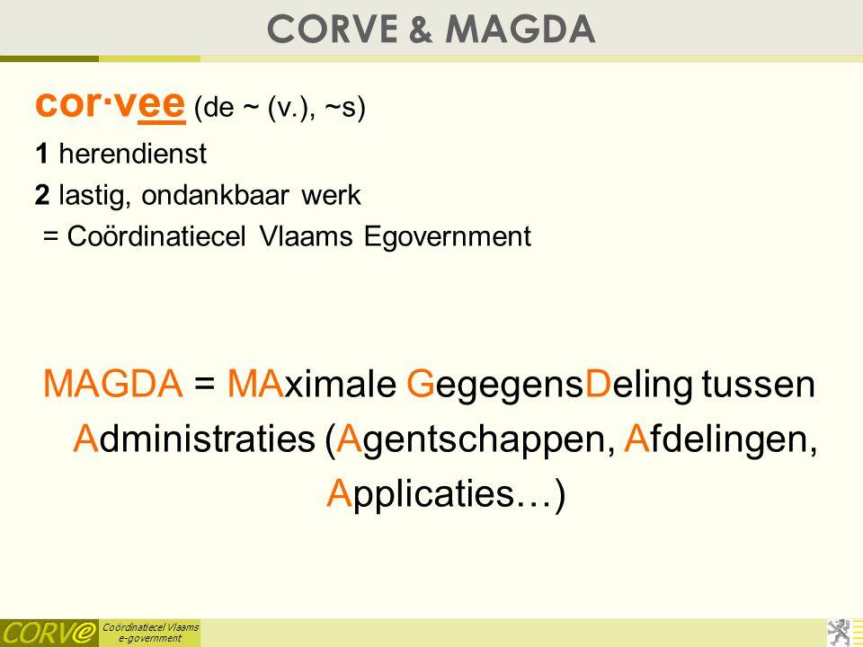 CORVE & MAGDA April 5, 2017. cor·vee (de ~ (v.), ~s) 1 herendienst 2 lastig, ondankbaar werk = Coördinatiecel Vlaams Egovernment.