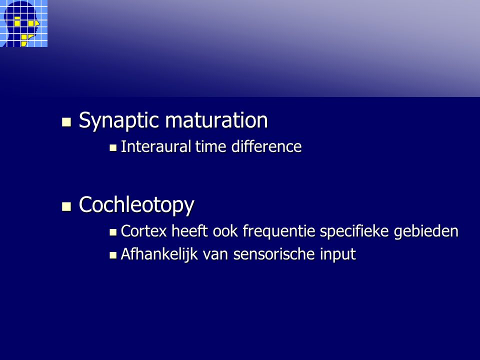 Synaptic maturation Cochleotopy Interaural time difference