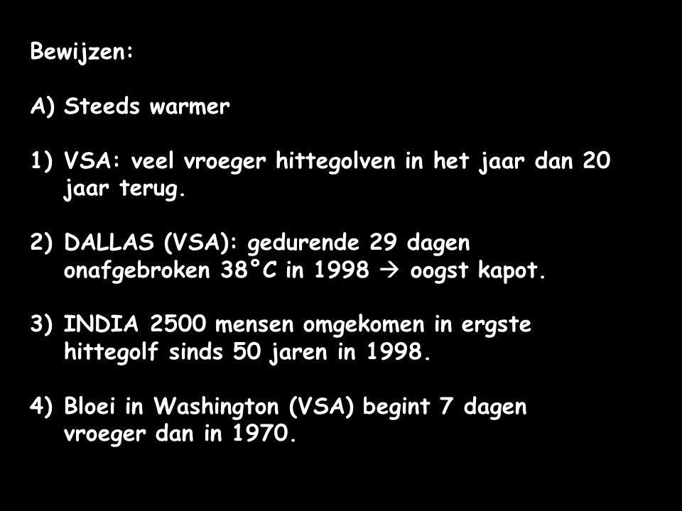 Bewijzen: Steeds warmer. VSA: veel vroeger hittegolven in het jaar dan 20 jaar terug.