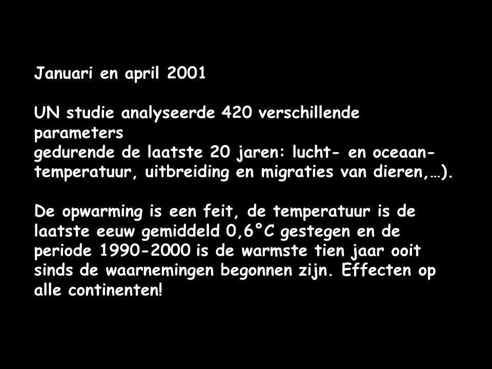 Januari en april 2001 UN studie analyseerde 420 verschillende parameters.