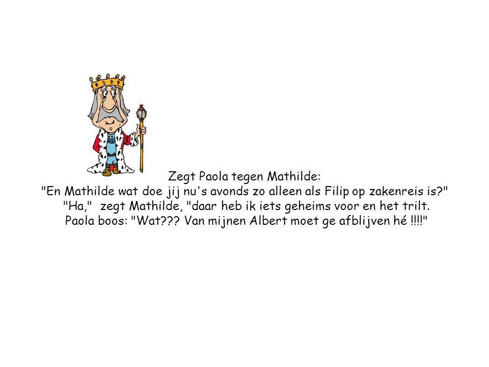 Zegt Paola tegen Mathilde: En Mathilde wat doe jij nu s avonds zo alleen als Filip op zakenreis is Ha, zegt Mathilde, daar heb ik iets geheims voor en het trilt.