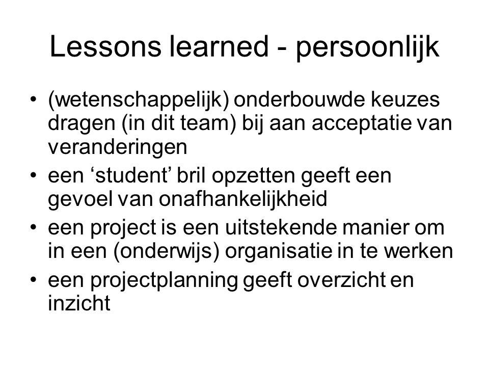 Lessons learned - persoonlijk