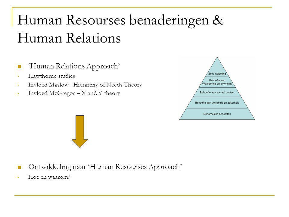 Human Resourses benaderingen & Human Relations
