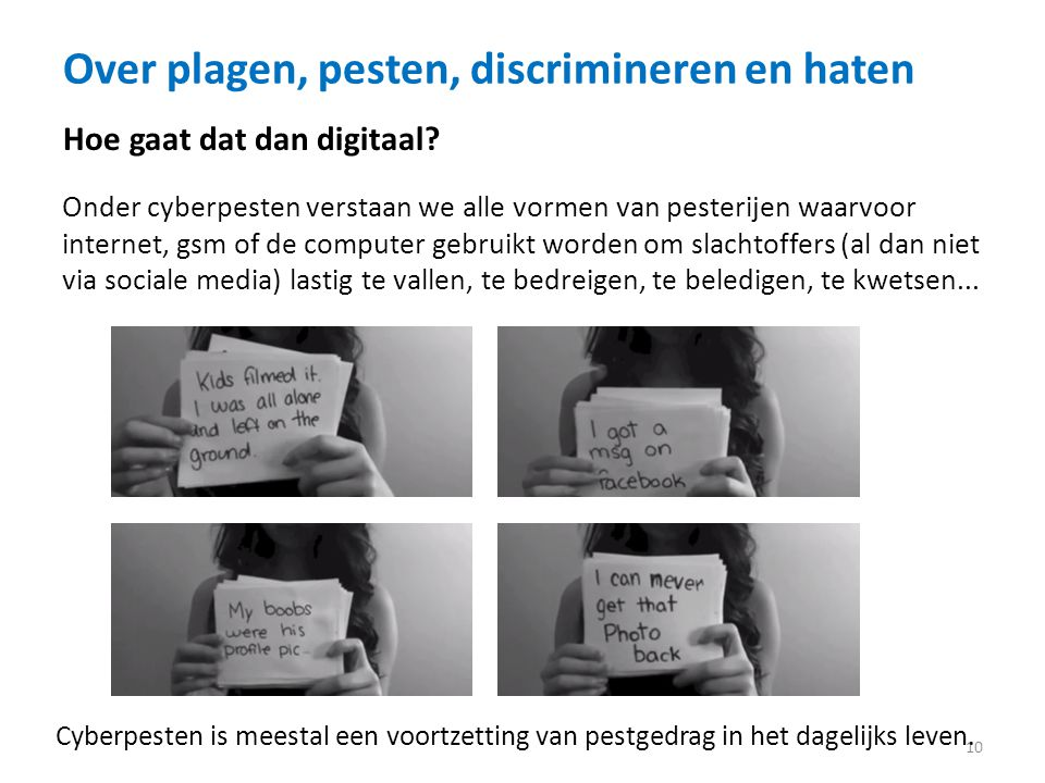 Over plagen, pesten, discrimineren en haten
