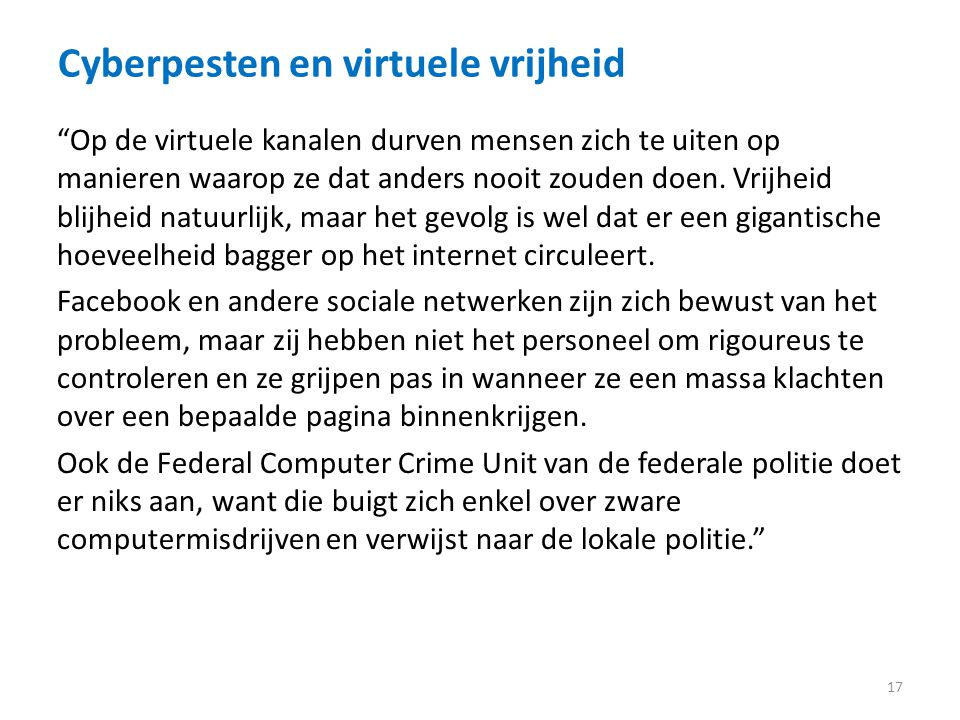 Cyberpesten en virtuele vrijheid