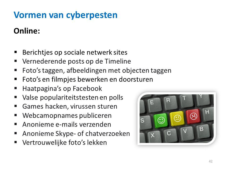 Vormen van cyberpesten