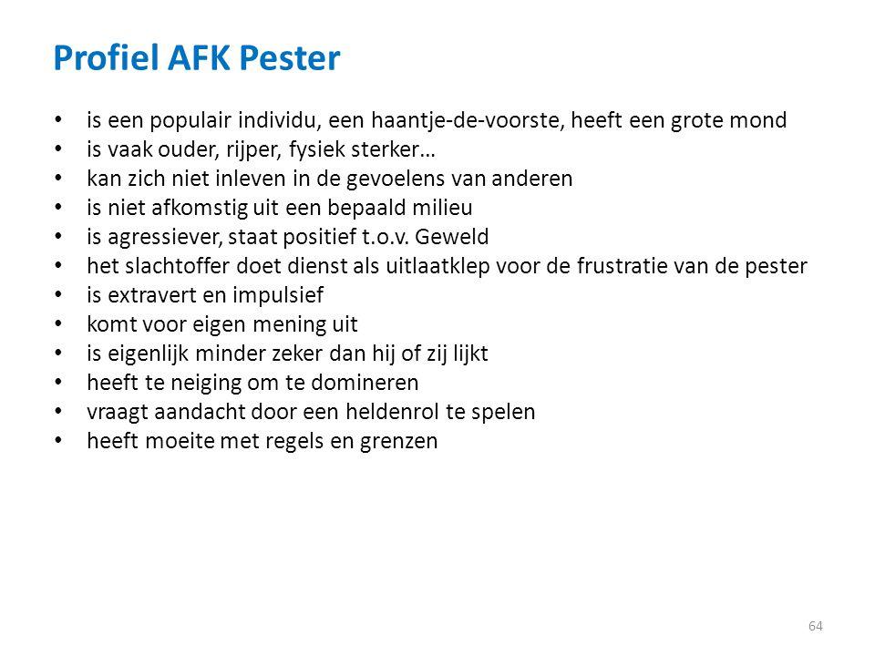 Profiel AFK Pester is een populair individu, een haantje-de-voorste, heeft een grote mond. is vaak ouder, rijper, fysiek sterker…