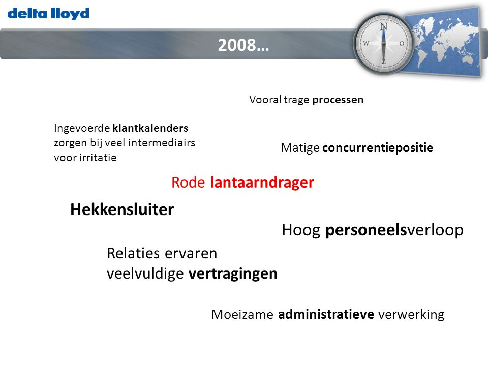 2008… Hekkensluiter Hoog personeelsverloop Rode lantaarndrager