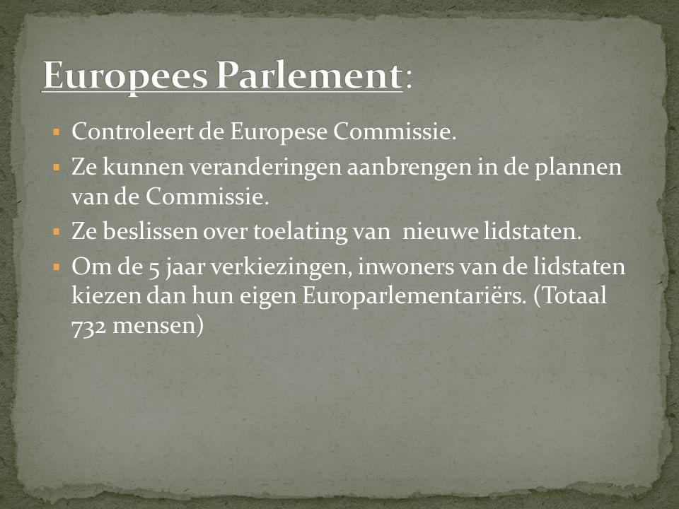 Europees Parlement: Controleert de Europese Commissie.