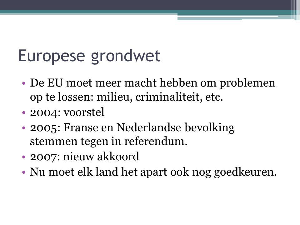 Europese grondwet De EU moet meer macht hebben om problemen op te lossen: milieu, criminaliteit, etc.