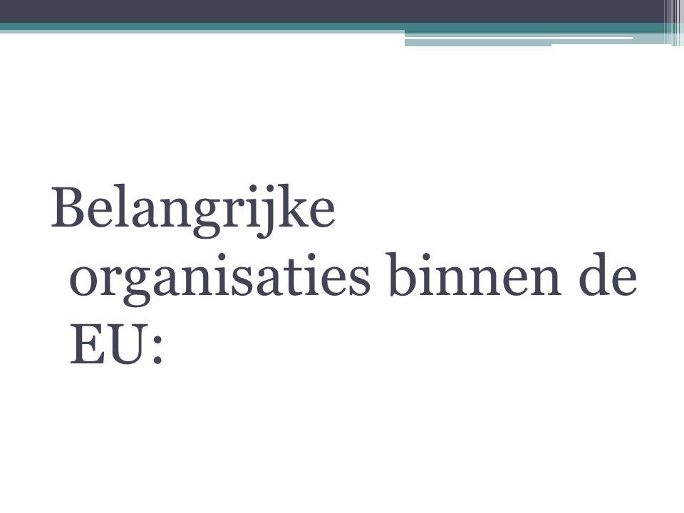 Belangrijke organisaties binnen de EU: