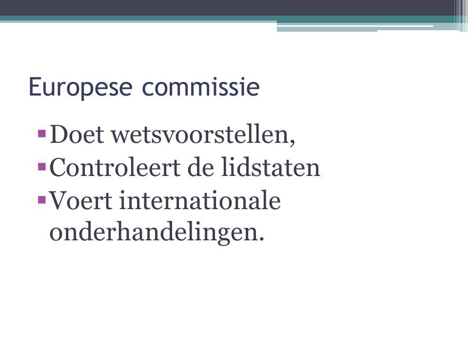 Europese commissie Doet wetsvoorstellen, Controleert de lidstaten.