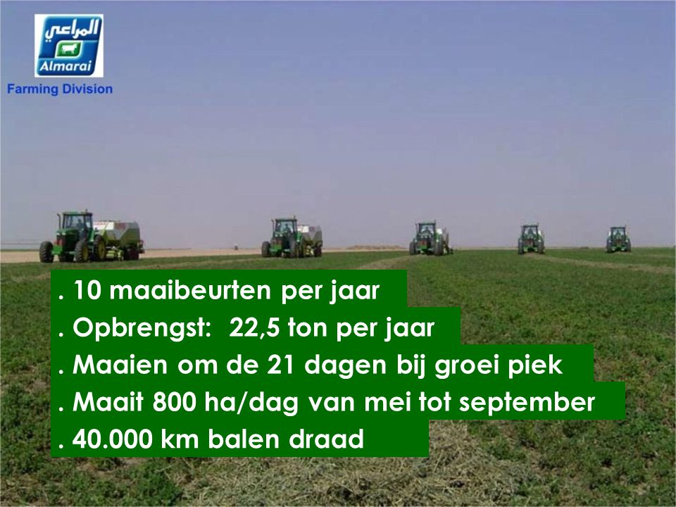 . 10 maaibeurten per jaar . . Opbrengst: 22,5 ton per jaar. . Maaien om de 21 dagen bij groei piek.