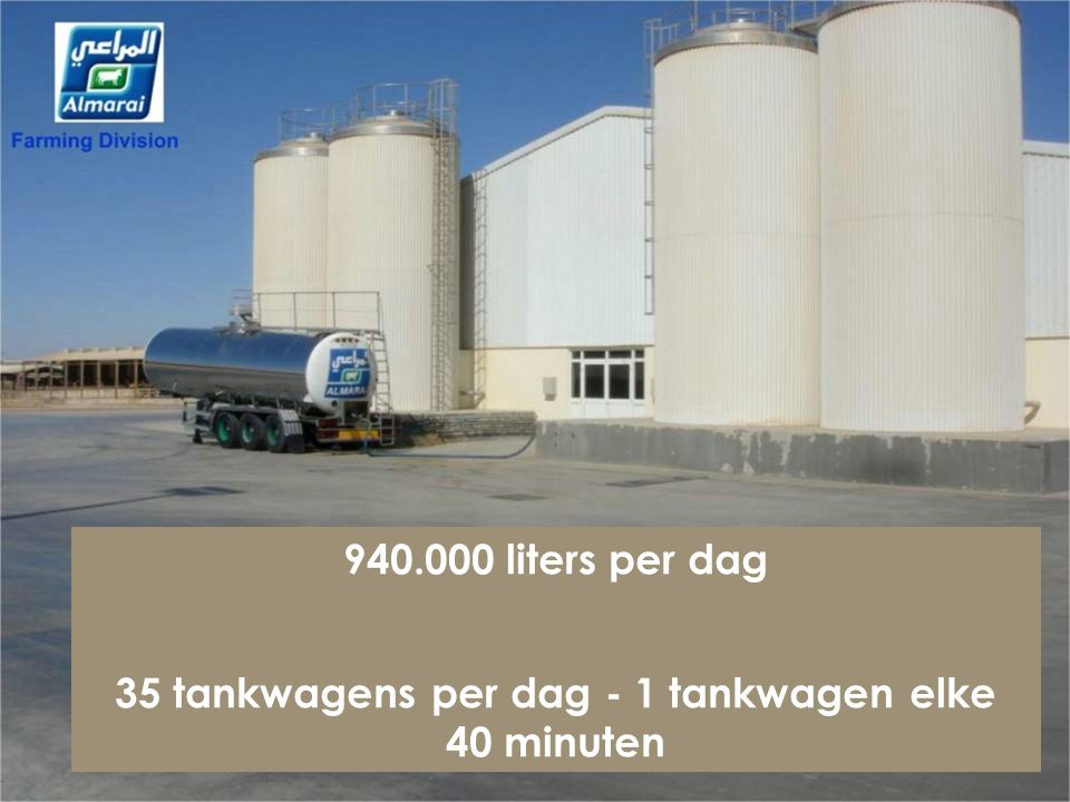 35 tankwagens per dag - 1 tankwagen elke 40 minuten