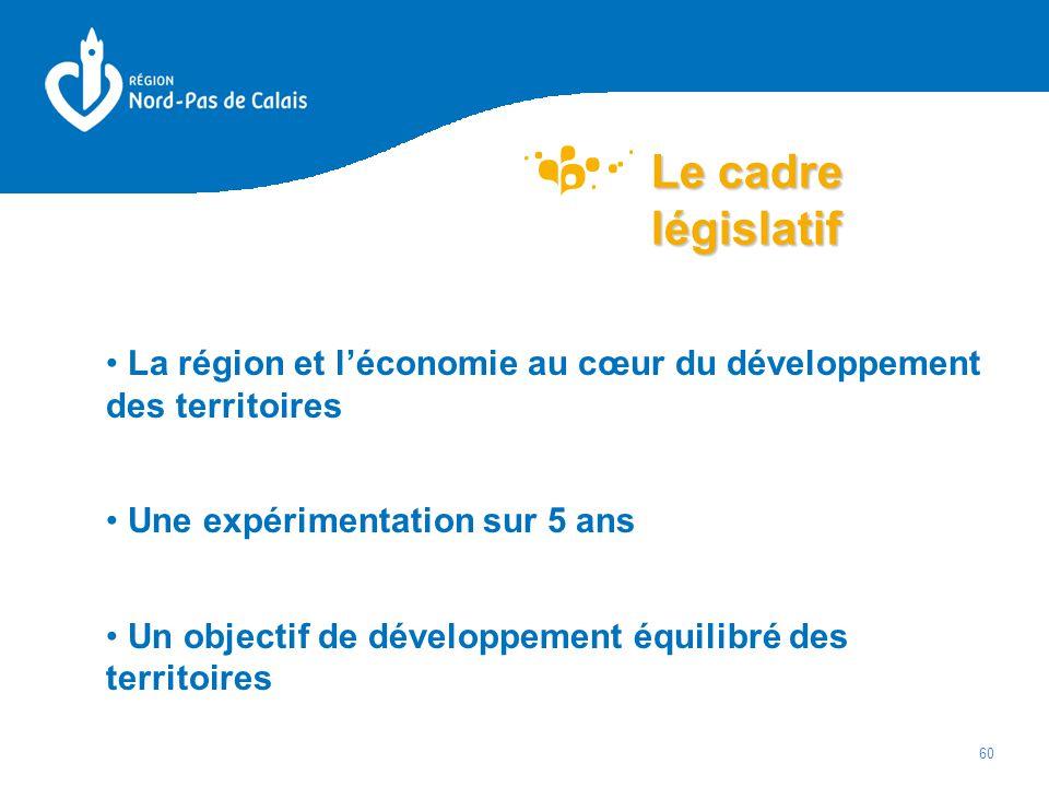 Le cadre législatif La région et l'économie au cœur du développement des territoires. Une expérimentation sur 5 ans.