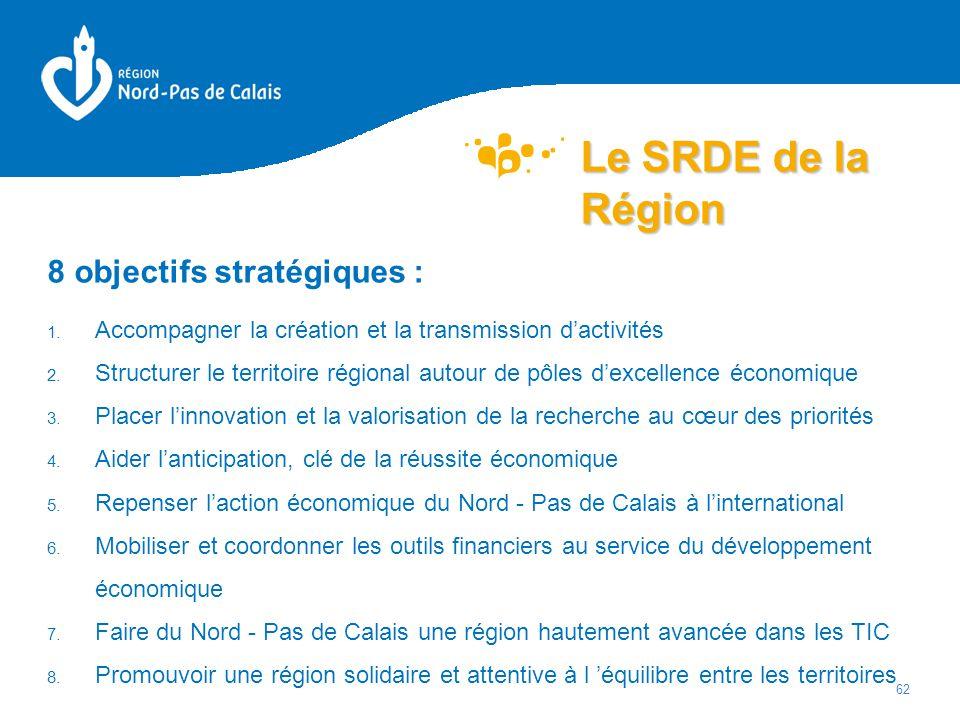 Le SRDE de la Région 8 objectifs stratégiques :
