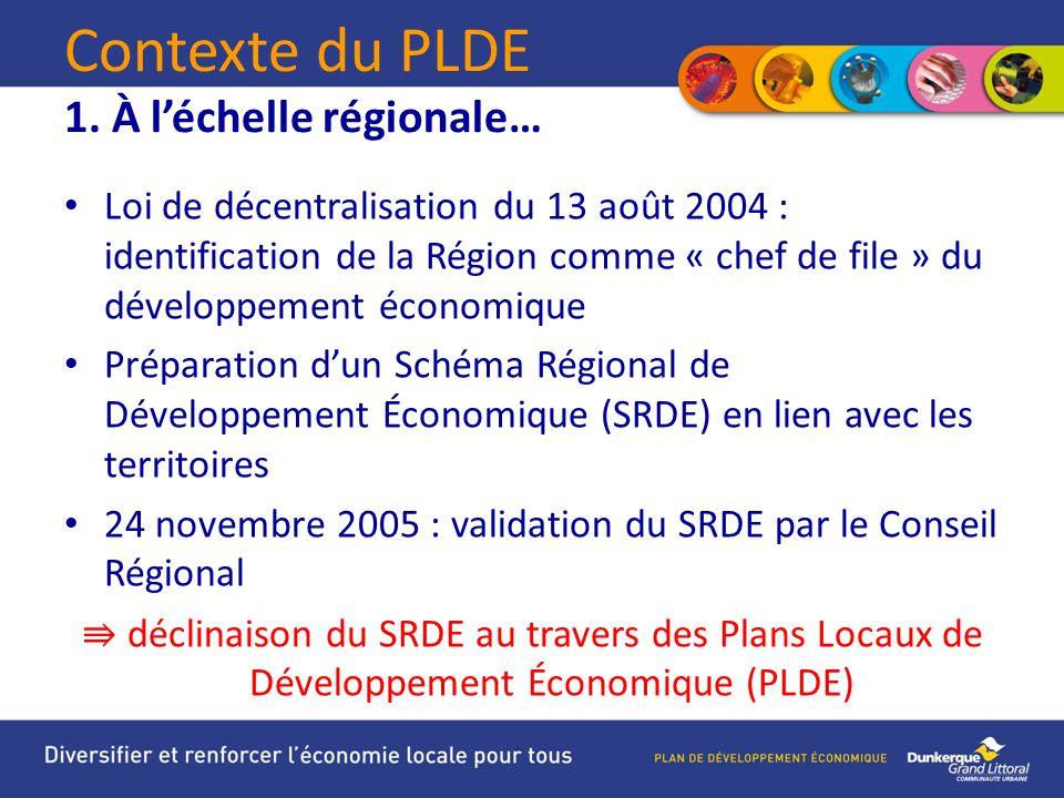 Contexte du PLDE 1. À l'échelle régionale…