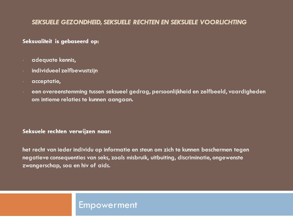 Seksuele gezondheid, seksuele rechten en seksuele voorlichting