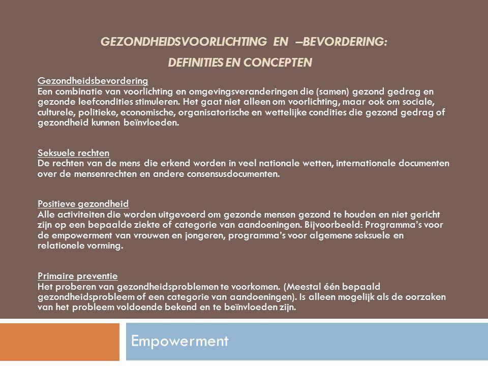 Gezondheidsvoorlichting en –bevordering: definities en concepten