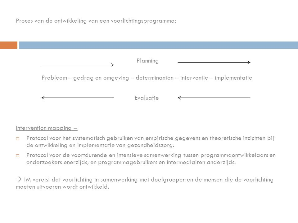 Proces van de ontwikkeling van een voorlichtingsprogramma: