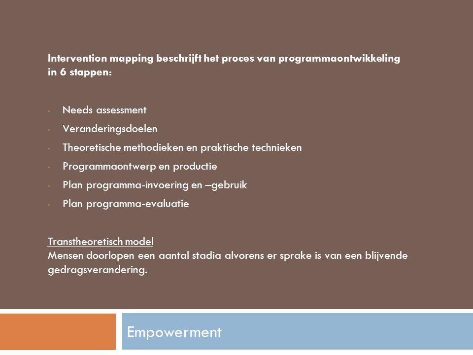 Intervention mapping beschrijft het proces van programmaontwikkeling in 6 stappen: