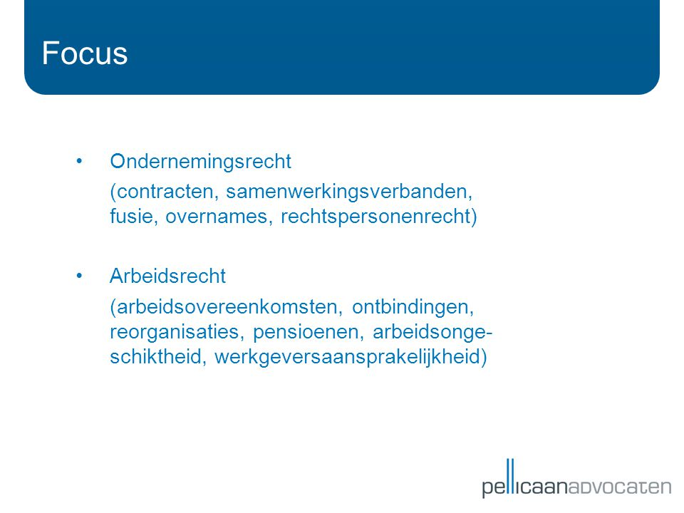 Focus Ondernemingsrecht