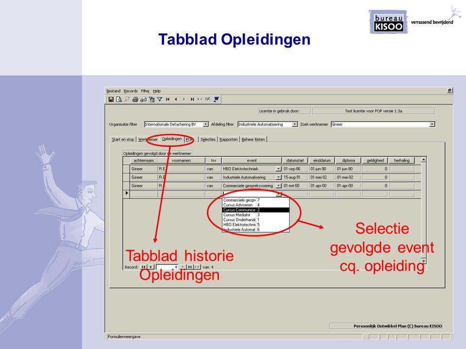 Tabblad historie Opleidingen Selectie gevolgde event cq. opleiding