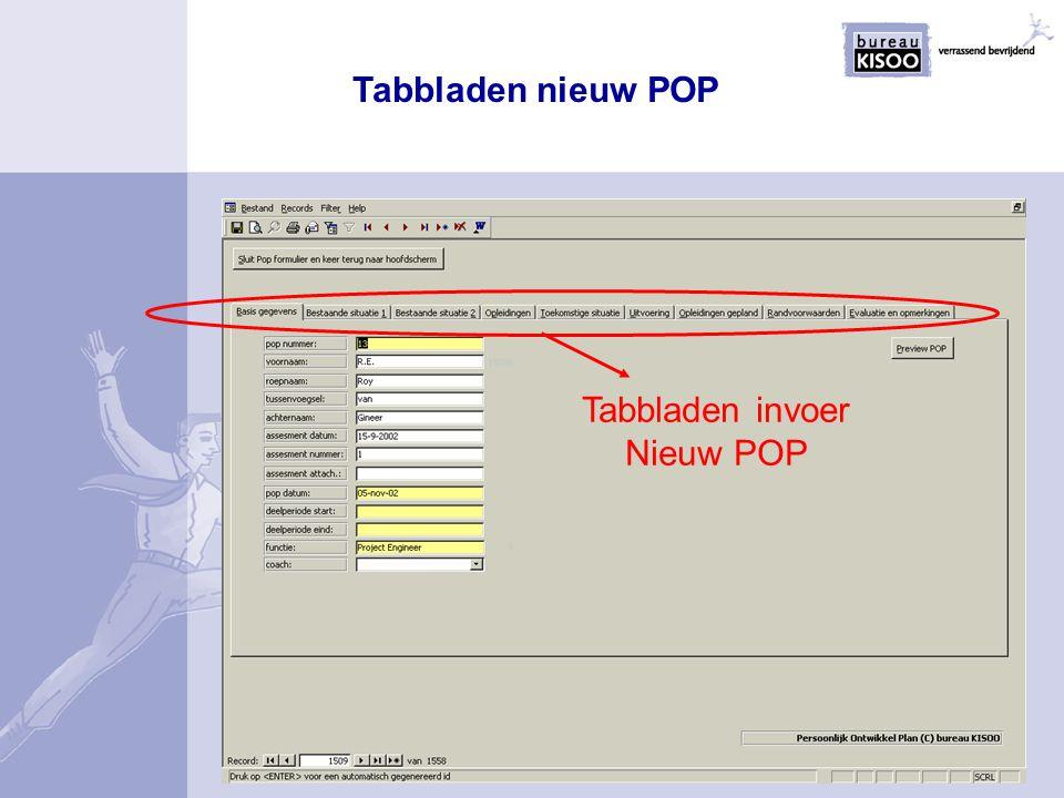 Tabbladen invoer Nieuw POP