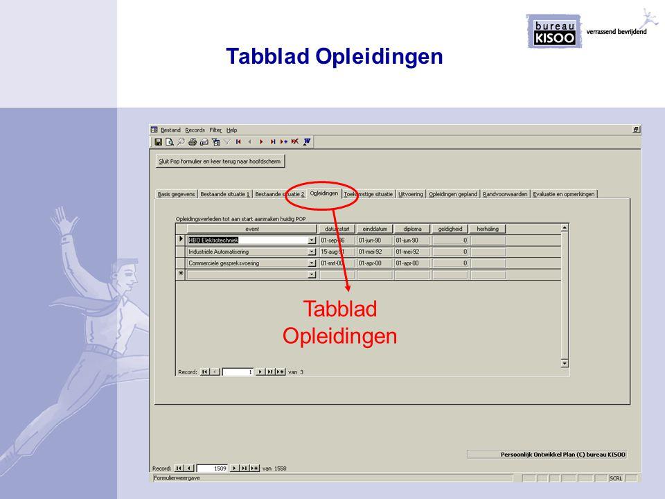 Tabblad Opleidingen Tabblad Opleidingen
