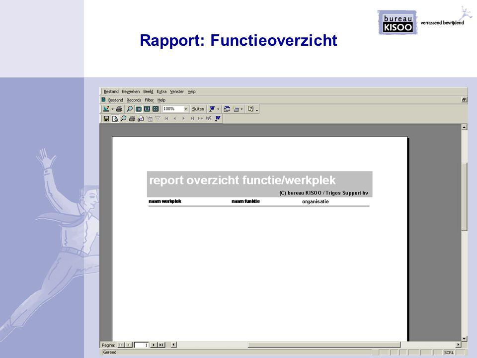 Rapport: Functieoverzicht