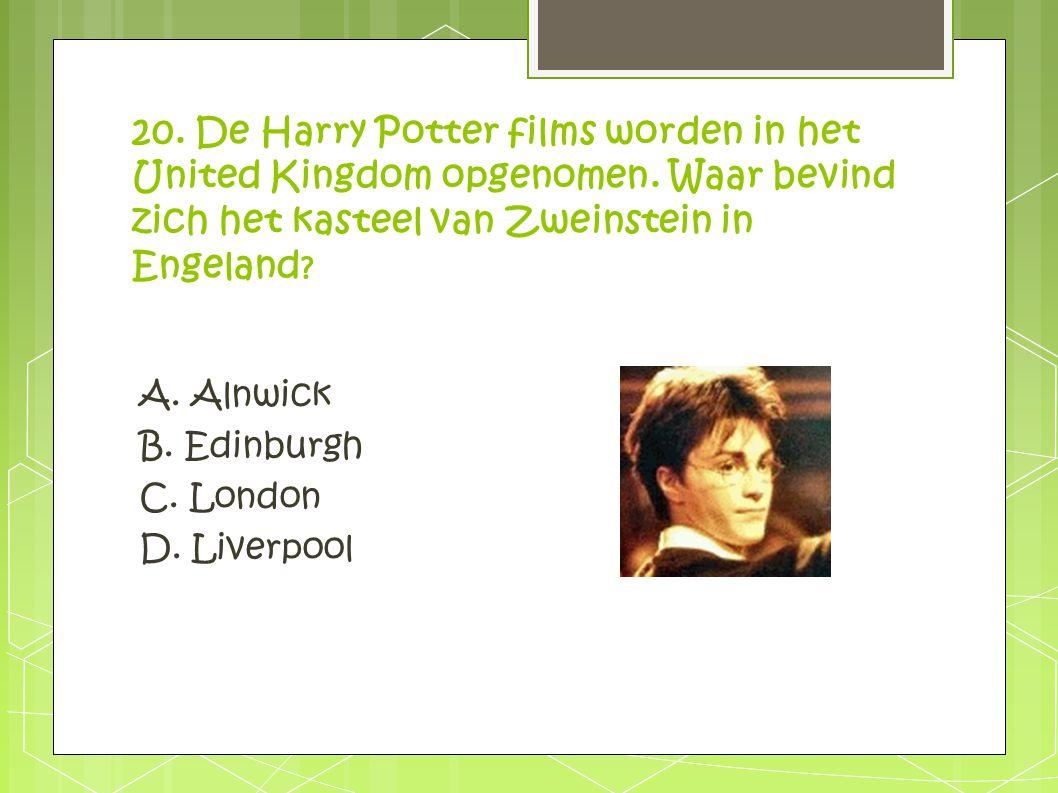 20. De Harry Potter films worden in het United Kingdom opgenomen