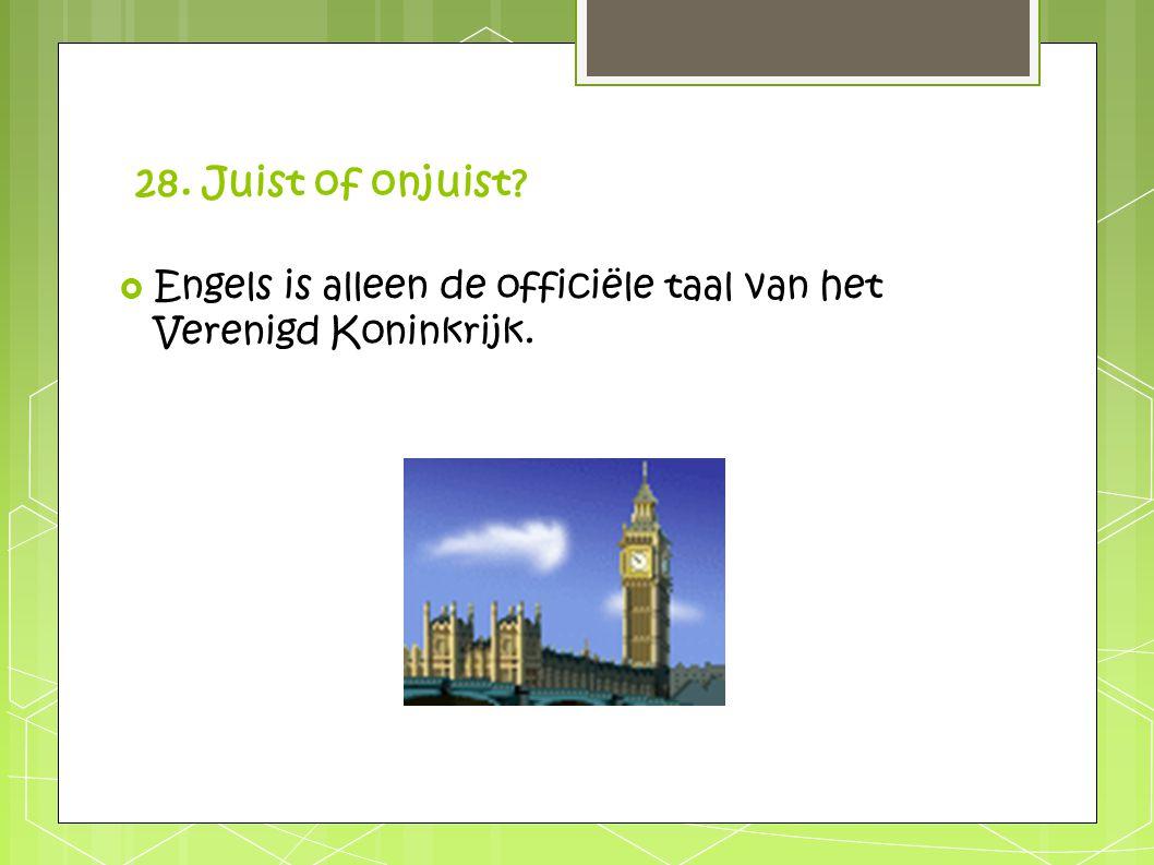 28. Juist of onjuist Engels is alleen de officiële taal van het Verenigd Koninkrijk.