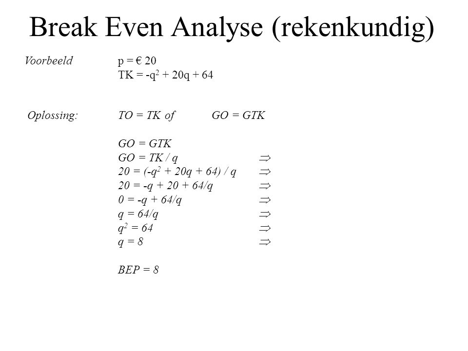 Break Even Analyse (rekenkundig)