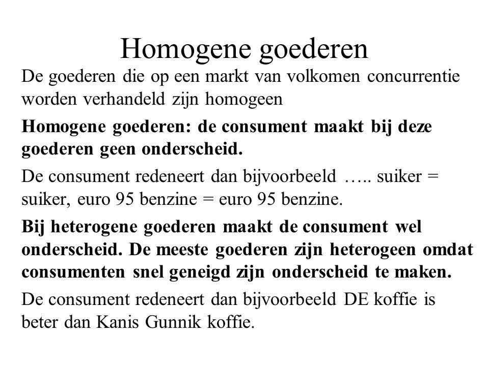 Homogene goederen De goederen die op een markt van volkomen concurrentie worden verhandeld zijn homogeen.