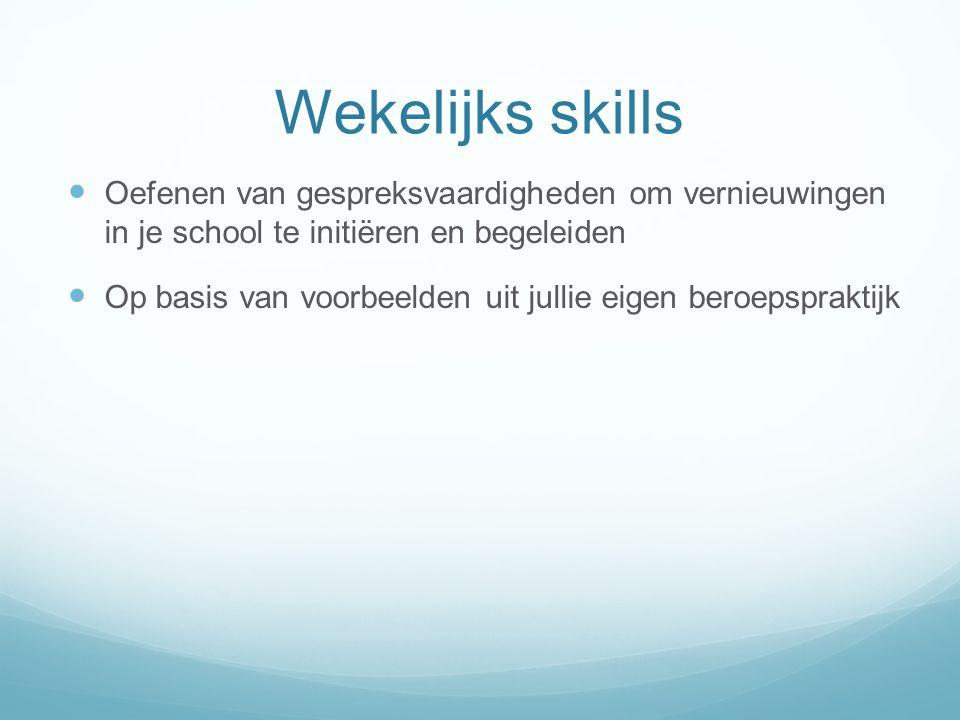 Wekelijks skills Oefenen van gespreksvaardigheden om vernieuwingen in je school te initiëren en begeleiden.