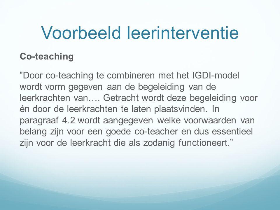Voorbeeld leerinterventie