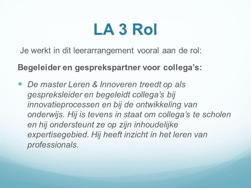 LA 3 Rol Je werkt in dit leerarrangement vooral aan de rol: