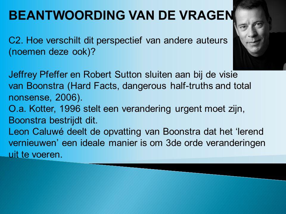 BEANTWOORDING VAN DE VRAGEN: