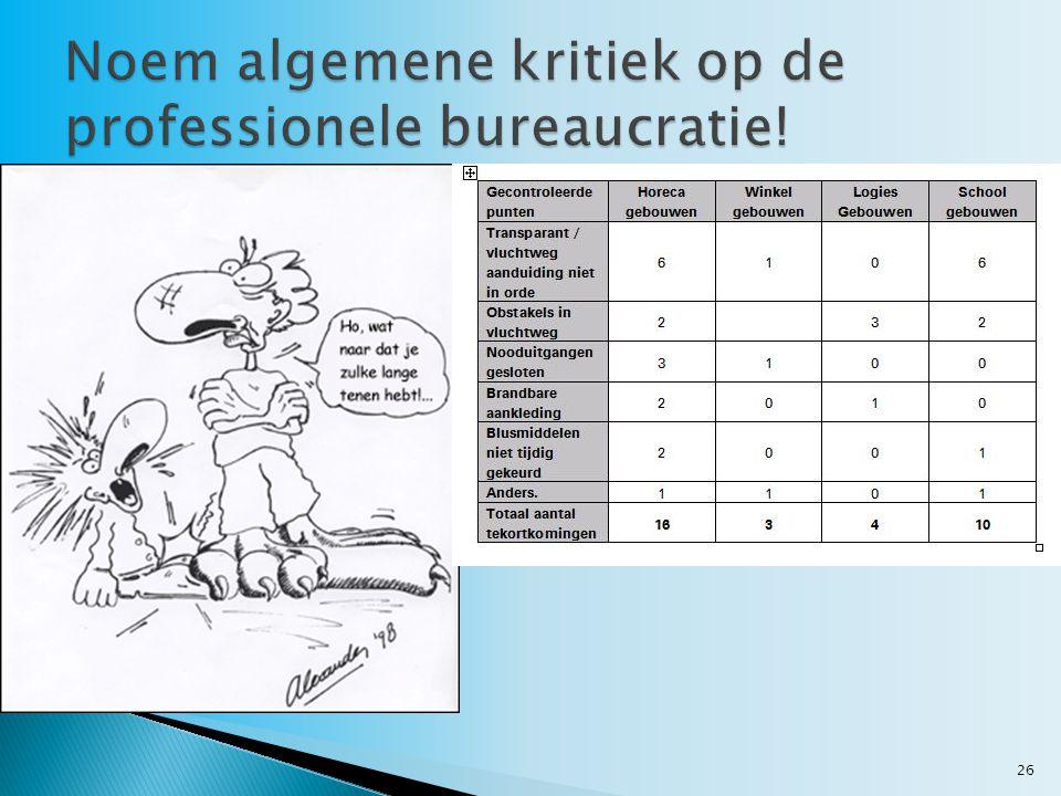 Noem algemene kritiek op de professionele bureaucratie!
