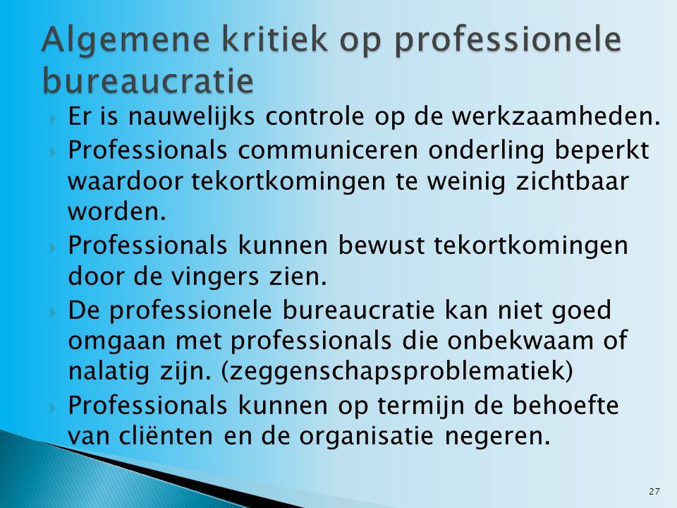 Algemene kritiek op professionele bureaucratie