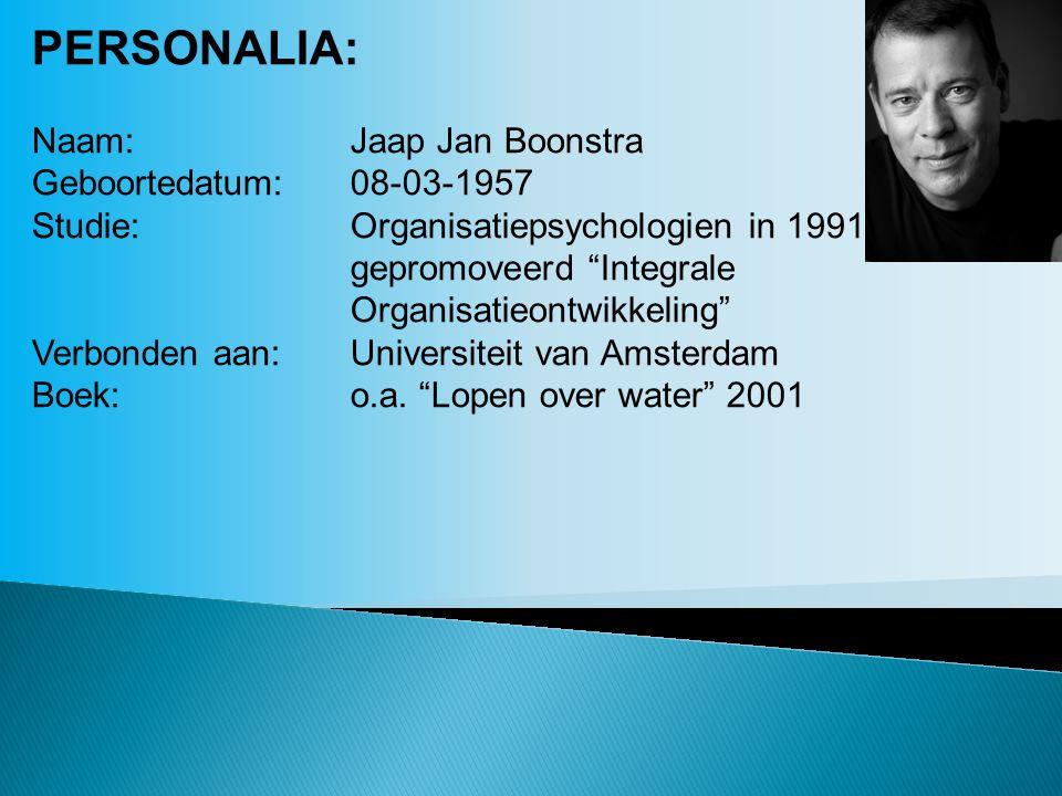 PERSONALIA: Naam: Jaap Jan Boonstra Geboortedatum: 08-03-1957